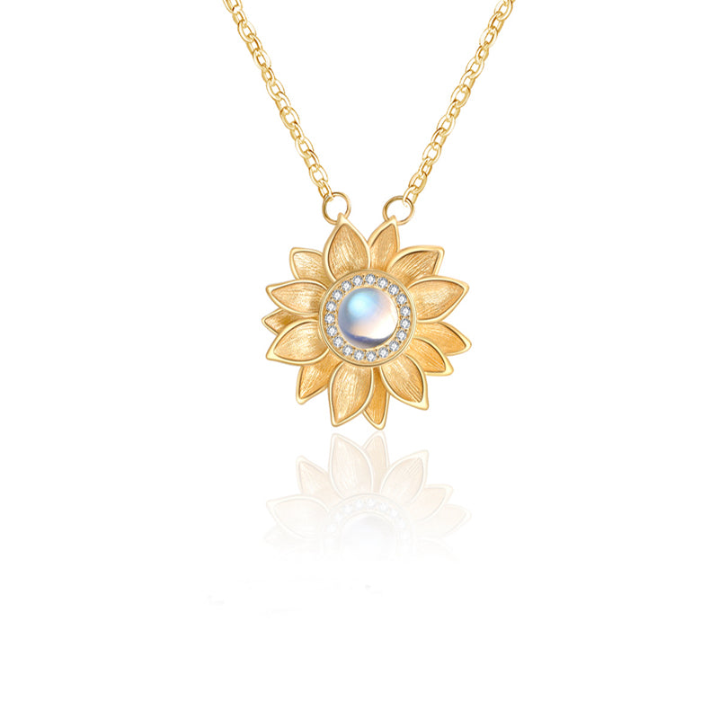 Womens 18K Gold Plated Silver Flower Moonstone Pendants Necklace for Women