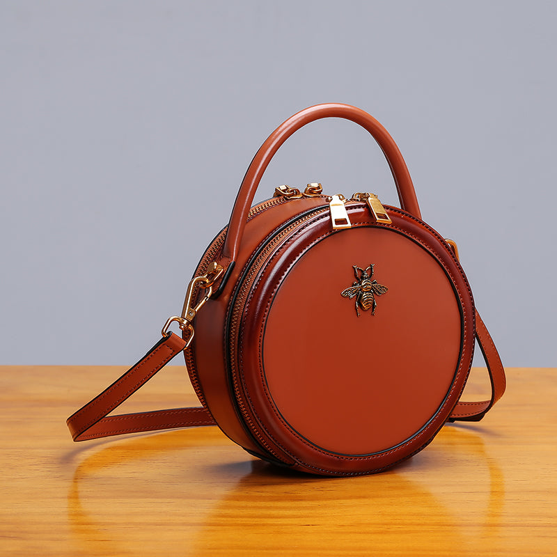 Womens Bee Leather Circle Bag Crossbody Bags Shoulder Bag Purses for Women Accessories
