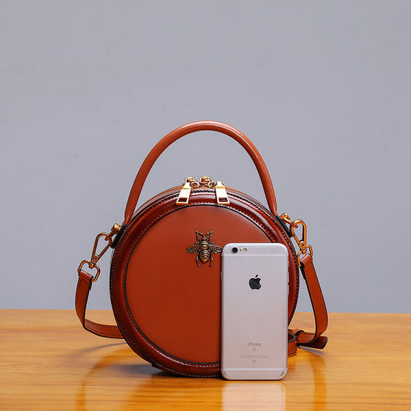 Womens Bee Leather Circle Bag Crossbody Bags Shoulder Bag Purses for Women Boutique