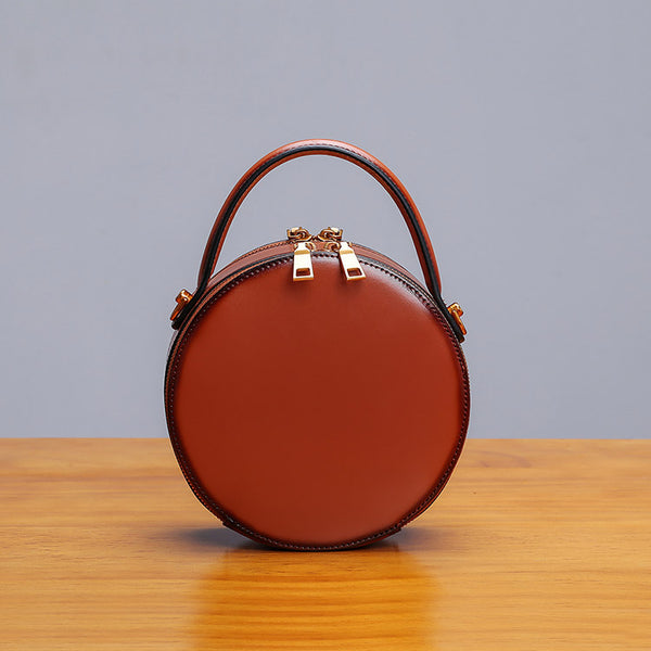Womens Bee Leather Circle Bag Crossbody Bags Shoulder Bag Purses for Women Brown