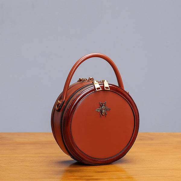 Womens Bee Leather Circle Bag Crossbody Bags Shoulder Bag Purses for Women Chic
