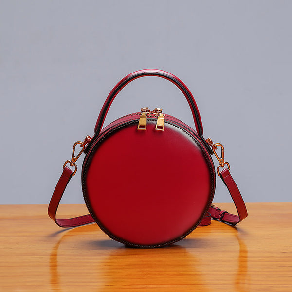 Womens Bee Leather Circle Bag Crossbody Bags Shoulder Bag Purses for Women Designer