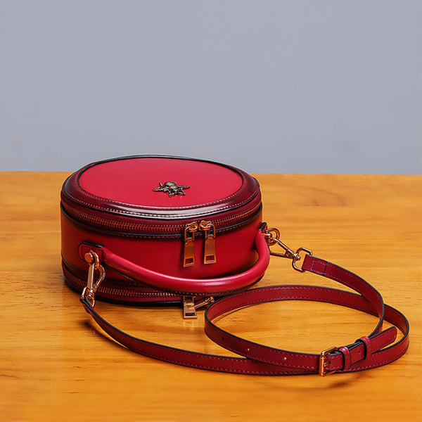 Womens Bee Leather Circle Bag Crossbody Bags Shoulder Bag Purses for Women Details