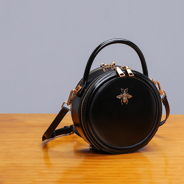 Womens Bee Leather Circle Bag Crossbody Bags Shoulder Bag Purses for Women Handmade