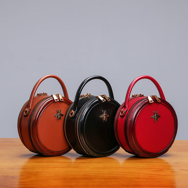 Womens Bee Leather Circle Bag Crossbody Bags Shoulder Bag Purses for Women beautiful