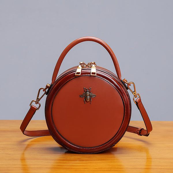 Womens Bee Leather Circle Bag Crossbody Bags Shoulder Bag Purses for Women black