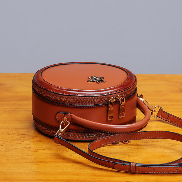 Womens Bee Leather Circle Bag Crossbody Bags Shoulder Bag Purses for Women cool