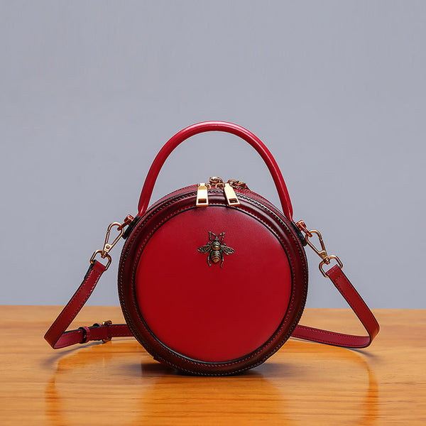 Womens Bee Leather Circle Bag Crossbody Bags Shoulder Bag Purses for Women cowhide