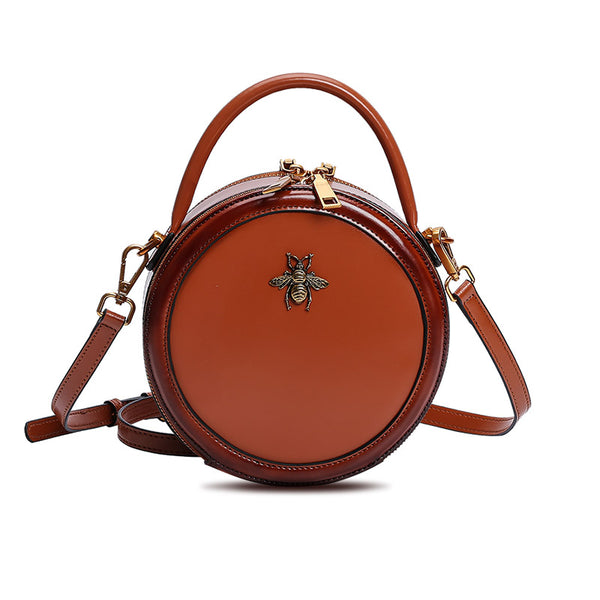 Womens Bee Leather Circle Bag Crossbody Bags Shoulder Bag Purses for Women