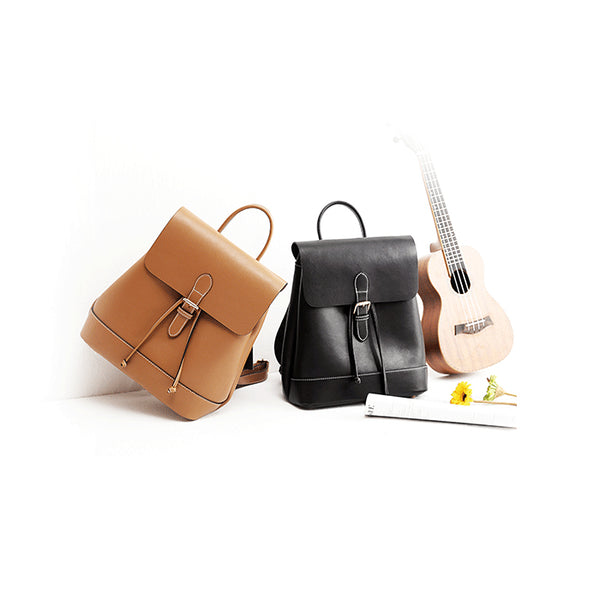 Womens Black Leather Backpack Purse Cute Backpacks for Women Minimalism