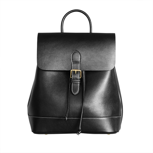 Womens Black Leather Backpack Purse