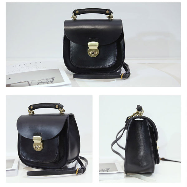 Womens Black Leather Small Crossbody Handbags Bags Purse for Women Details