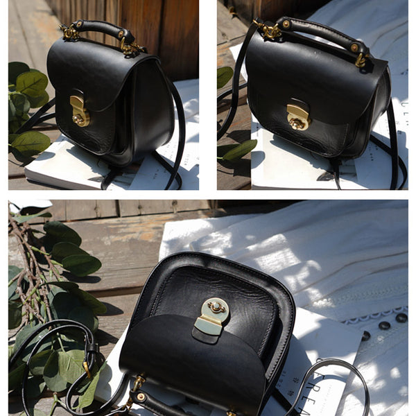 Womens Black Leather Small Crossbody Handbags Bags Purse for Women Genuine Leather
