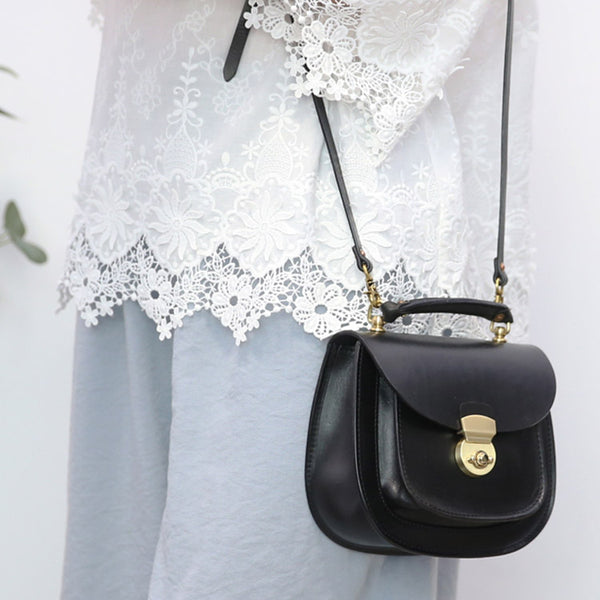 Womens Black Leather Small Crossbody Handbags Bags Purse for Women black