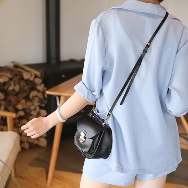 Womens Black Leather Small Crossbody Handbags Bags Purse for Women cute