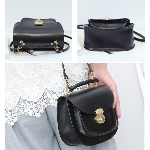 Womens Black Leather Small Crossbody Handbags Bags Purse for Women fashion