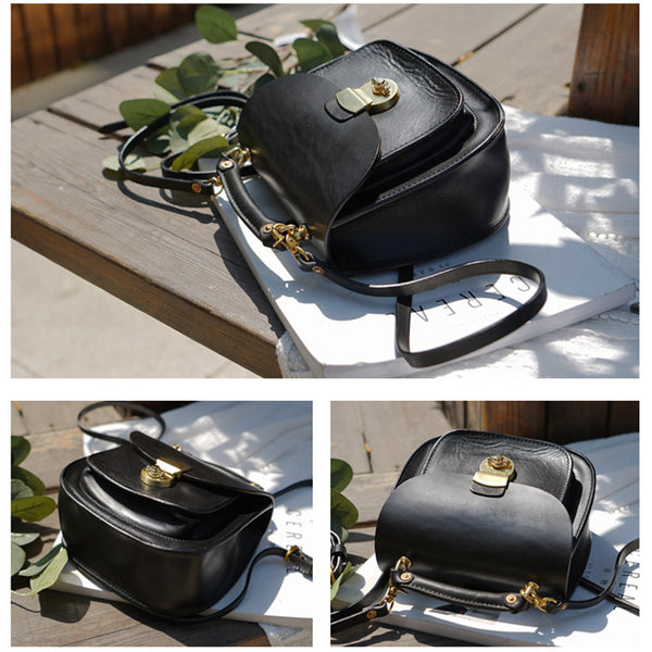 Womens Black Leather Small Crossbody Handbags Bags Purse for Women funky