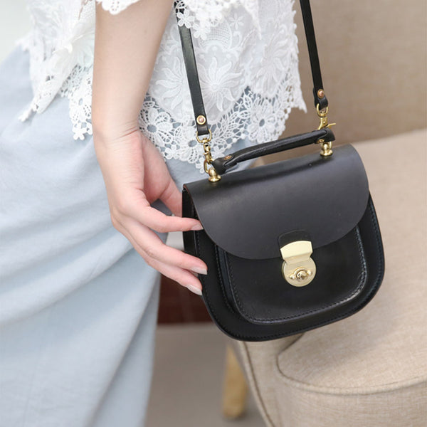 Womens Black Leather Small Crossbody Handbags