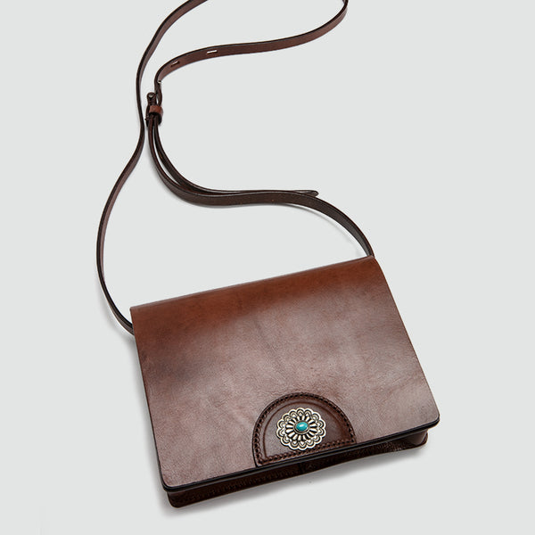 Womens Boho Leather Square Crossbody Satchel Purse Shoulder Bags for Women Accessories