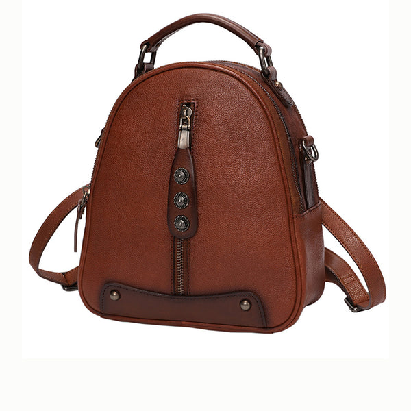 Womens Brown Genuine Leather Crossbody Backpack Purse Vintage Backpacks for Women Chic