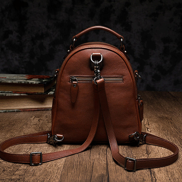 Womens Brown Genuine Leather Crossbody Backpack Purse Vintage Backpacks for Women Designer