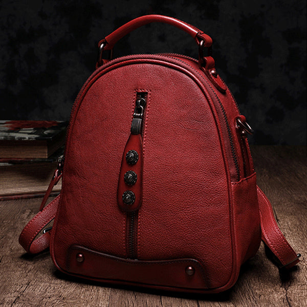 Womens Brown Genuine Leather Crossbody Backpack Purse Vintage Backpacks for Women Genuine Leather