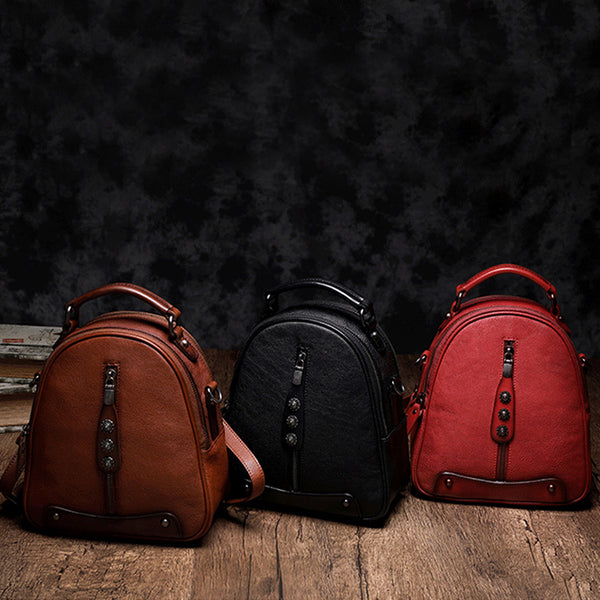 Womens Brown Genuine Leather Crossbody Backpack Purse Vintage Backpacks for Women cool