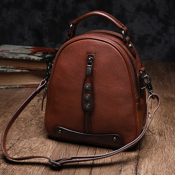 Womens Brown Genuine Leather Crossbody Backpack Purse Vintage Backpacks for Women cowhide