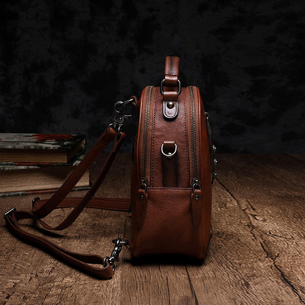Womens Brown Genuine Leather Crossbody Backpack Purse Vintage Backpacks for Women cute
