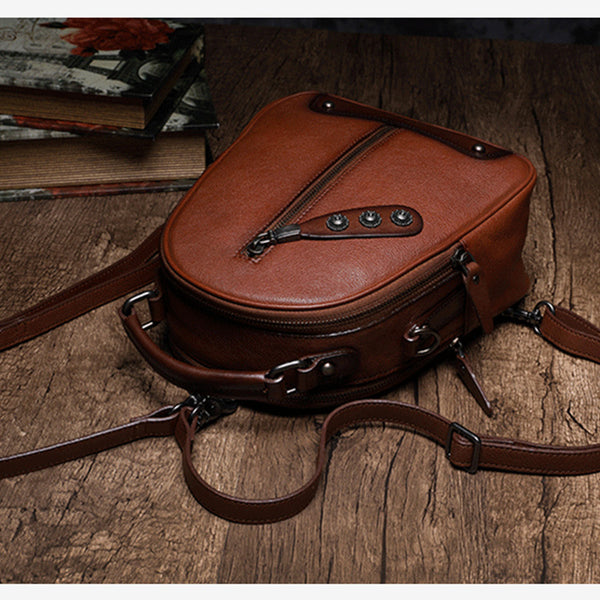 Womens Brown Genuine Leather Crossbody Backpack Purse Vintage Backpacks for Women fashion