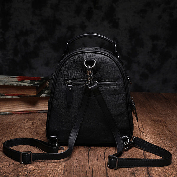 Womens Brown Genuine Leather Crossbody Backpack Purse Vintage Backpacks for Women funky