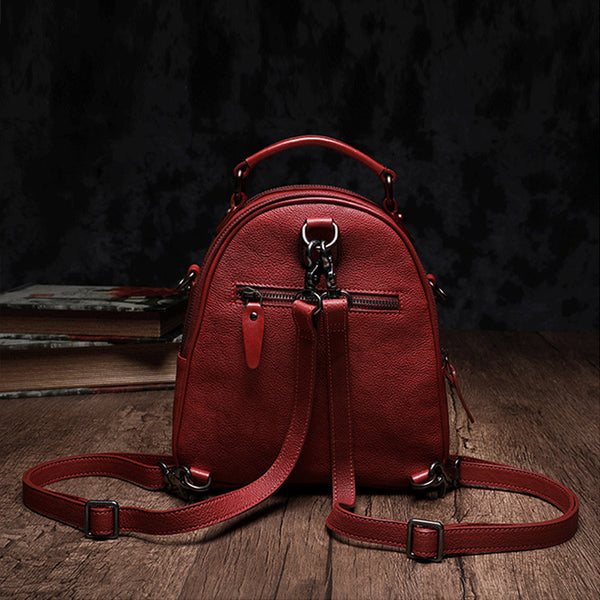 Womens Brown Genuine Leather Crossbody Backpack Purse Vintage Backpacks for Women gift