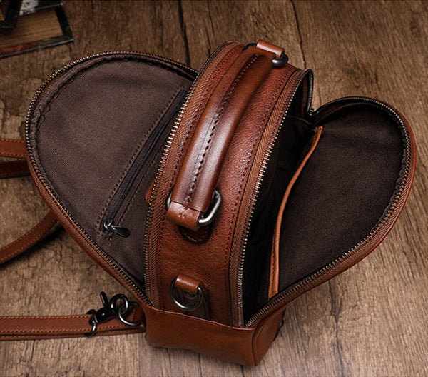 Womens Brown Genuine Leather Crossbody Backpack Purse Vintage Backpacks for Women small