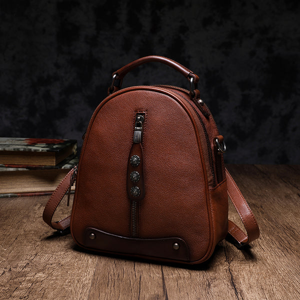 Womens Brown Genuine Leather Crossbody Backpack Purse Vintage Backpacks for Women