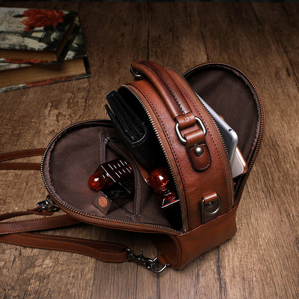 Womens Brown Genuine Leather Crossbody Backpack Purse Vintage Backpacks