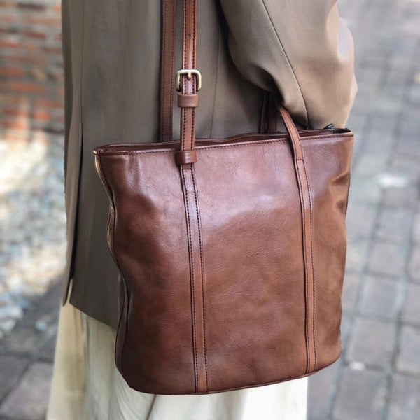 Womens Brown Genuine Leather Tote Handbags Over The Shoulder Purse