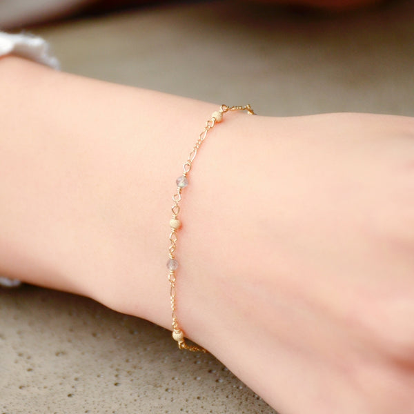 Womens Charm Moonstone Beaded Bracelets 14K Gold Bracelet for Women