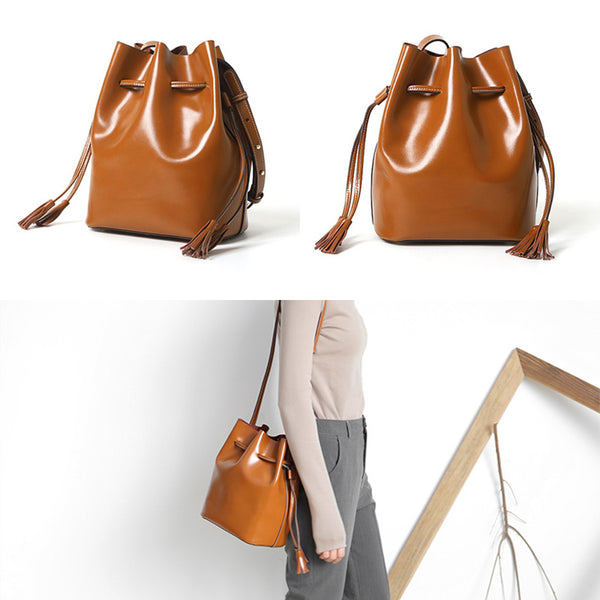 Womens Chic Bucket Bag Leather Crossbody Bags Shoulder Bag for Women Vintage