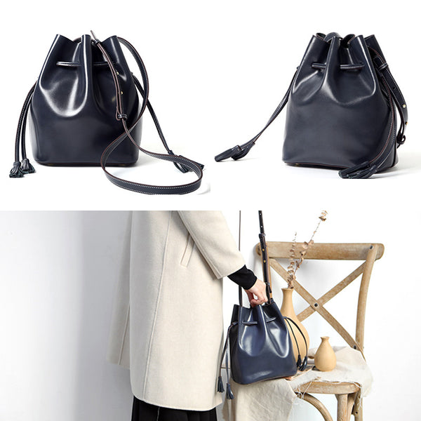 Womens Chic Bucket Bag Leather Crossbody Bags Shoulder Bag for Women Unique
