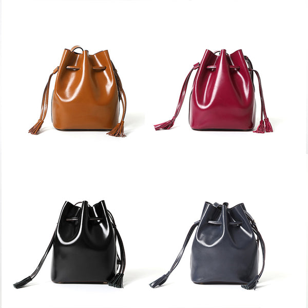 Womens Chic Bucket Bag Leather Crossbody Bags Shoulder Bag for Women cool