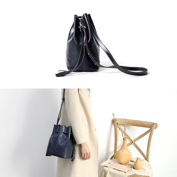 Womens Chic Bucket Bag Leather Crossbody Bags Shoulder Bag for Women cute