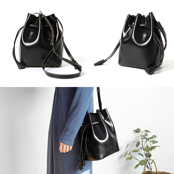 Womens Chic Bucket Bag Leather Crossbody Bags Shoulder Bag for Women work bag