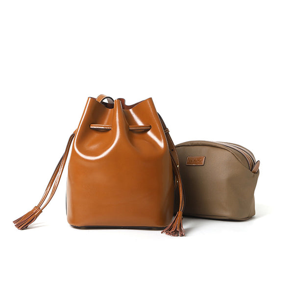 Womens Chic Bucket Bag Leather Crossbody Bags Shoulder Bag for Women