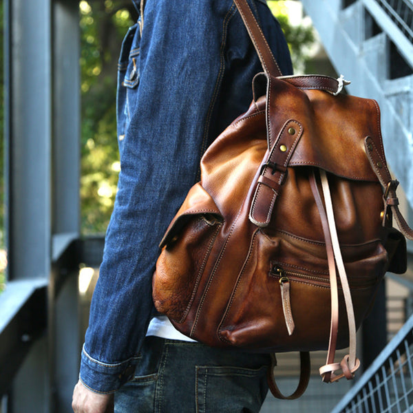 Womens Cool Leather Backpacks Brown Leather Travel Backpack Bag Purse for Women Genuine Leather