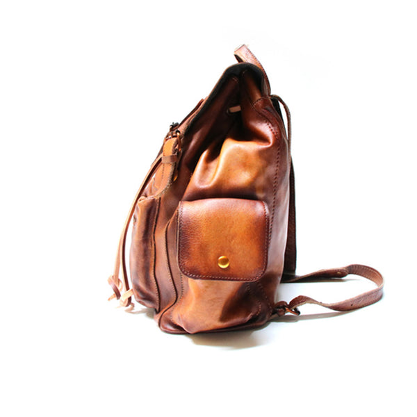 Womens Cool Leather Backpacks Brown Leather Travel Backpack Bag Purse for Women Handmade