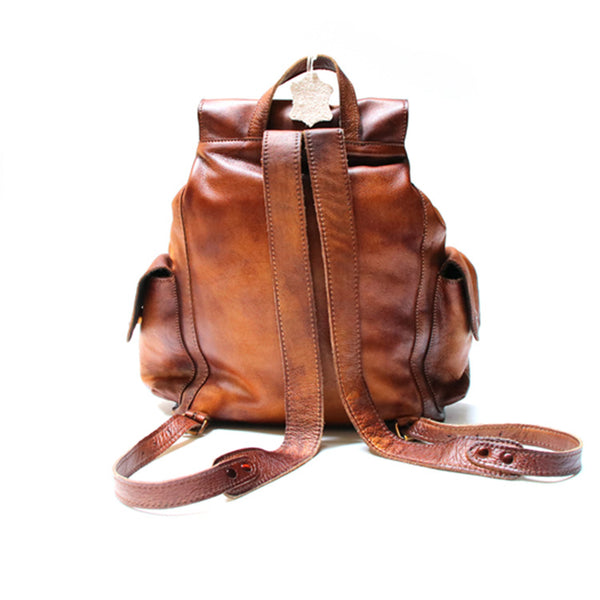 Womens Cool Leather Backpacks Brown Leather Travel Backpack Bag Purse for Women Inside
