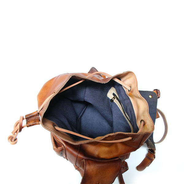 Womens Cool Leather Backpacks Brown Leather Travel Backpack Bag Purse for Women Vintage