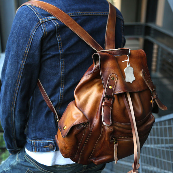 Womens Cool Leather Backpacks Brown Leather Travel Backpack Bag Purse for Women cool