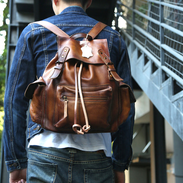 Womens Cool Leather Backpacks Brown Leather Travel Backpack Bag Purse for Women funky