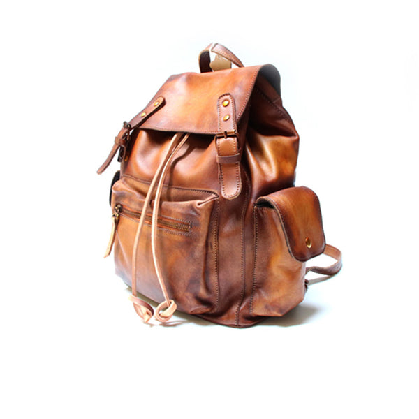 Womens Cool Leather Backpacks Brown Leather Travel Backpack Bag Purse for Women gift